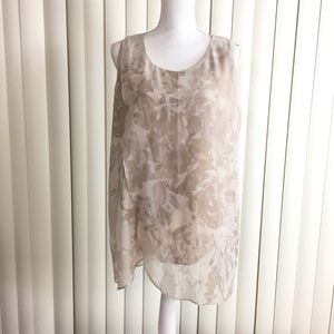 H by Halston Beige Floral Chiffon Sleeveless Top